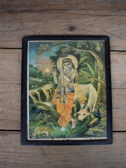 Vintage Print of Lord Krishna Playing the Flute